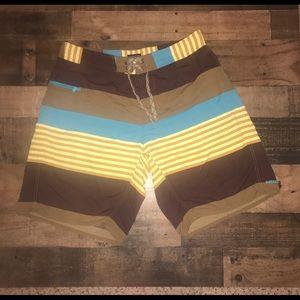 Patagonia striped board shirt swim bathing suit 35